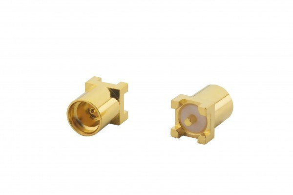 MMCX Straight PCB Mount, Jack, Gold (front & back)