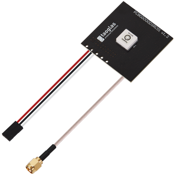 ADCP.12A Active 5.9GHz DSRC Patch Antenna 12*12*4mm on PCB 50*50mm 150mm RG-316 SMA(M)